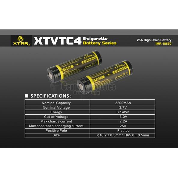 Xtar XTVTC4 2200 mAh 18650 25A High Drain